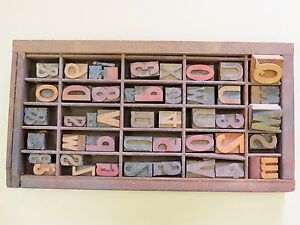 Vintage Letter Press Type Drawer With 45 Assorted Numbers Symbols And Letters