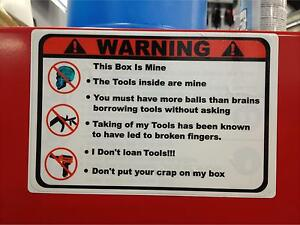 Red Warning These Tools Are Mine Decal Mac Box Cart Socket Balancer Sears