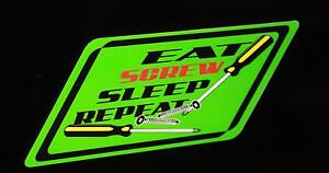 Eat Screw Sleep Repeat Decal Green Matco Tool Box Cart Mechanic Socket