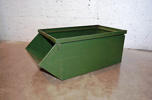 Reclaimed Vintage Industrial Stackable Parts Bin Army Green