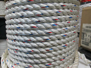 5 8 X 100 3 Strand Poly Dacron Hoist Rope rigging Rope 7 200 Lb Just Reduced