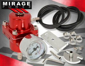 Jdm Universal Red Fuel Pressure Regulator With Gauge 0 140 Psi Adjustable