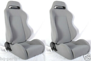 New 1 Pair Gray Cloth Reclinable Racing Seats For Chevrolet