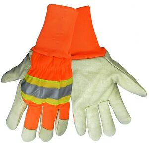 Global Glove Insulated Hi vis Pig Skin Glove With Knit Wrist 12 Pair 2900hvkw