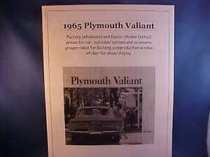 1965 Plymouth Valiant Factory Wholesale Cost Dealer Sticker Price Car