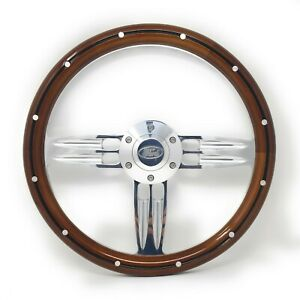 14 Inch Polished Wood Steering Wheel Fits Ford Horn 6 Hole Cars Trucks