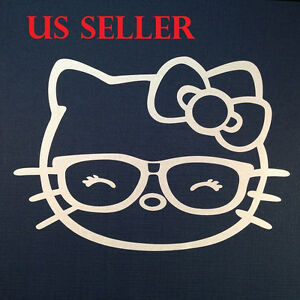 1pcs Hello Kitty W Eye Glasses Car Sticker Emblem Label Laptop Ipad Stick 8
