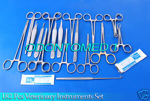 182 Pcs Veterinary Surgery Surgical Instruments Set Scissors Forceps