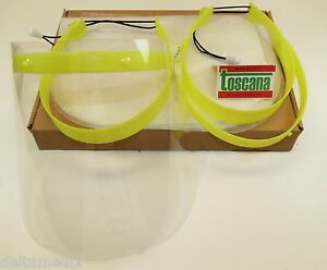 Dental Face Shield With Yellow Frame Kit 2 20 Pcs Film Clear Protector Toscana