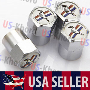 Mustang Ford Logo Valves Stems Caps Covers Chromed Roundel Wheel Tire Emblem Usa