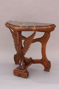 1920s Carved Wood Table W Marble Top Swan Motif Antique Spanish Revival 9240