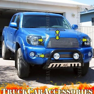 For 2005 2010 Toyota Tacoma 5pc Polish Grille Combo Replacement overlay Wo Logo