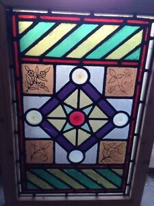 Sg 107 Antique Victorian Stained Glass Window With Rondell S And Painted Pieces