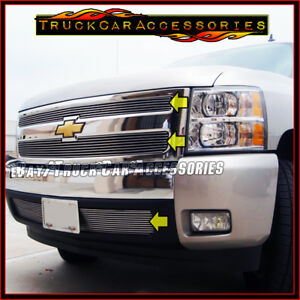 For Chevy Silverado 1500 2007 2012 Polished Overlay Grille 3pc Combo Main bumper