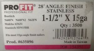 1 1 2 Stainless Steel 15 Guage Ga 28 Degree Angled Finish Nails 3500 Ct