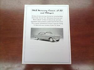 1963 Mercury Comet Factory Cost Dealer Sticker Pricing For Base Options