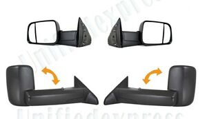 Towing Mirrors L R Manual Non Heat 09 12 Dodge Ram 1500 2500 3500 Pickup Truck