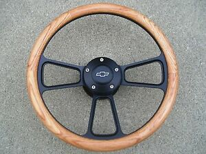 1955 1956 Chevy Bel Air Nomad Real Oak Billet Steering Wheel Horn Full Kit