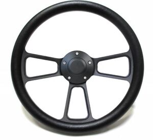 14 Black Steering Wheel W Black Half Wrapfits Most Ford Cars Trucks