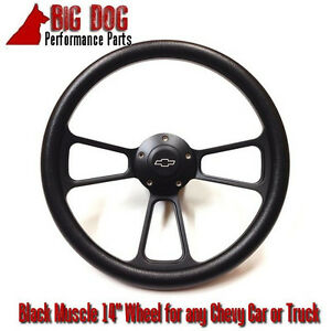 14 Black Steering Wheel W Black Chevy Horn For 1969 To 1994 Chevy Car