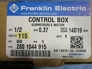 1 2 Hp 115v Franklin Qd Control Box Submersible Water Pump 2801044915 New