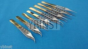 8 Pcs Gold Handle Plastic Surgery Adson Dressing tissue Forceps Curved