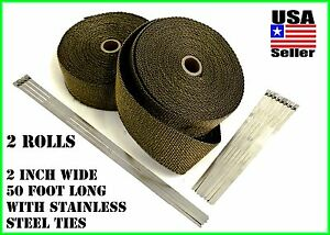 Titanium Lava Exhaust Header Pipe Heat Wrap 2 Rolls 2 x 50 Stainless Ties Kit