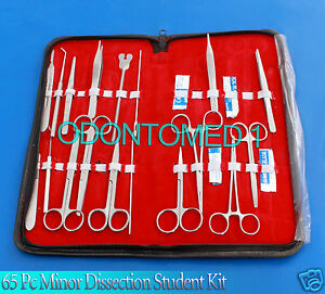 65 Pc Minor Dissectin Dissection Student Kit Surgical Instruments Forceps Blades
