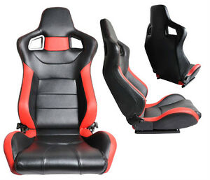 2 Black Red Pvc Leather Reclinable Racing Seats For All Ford