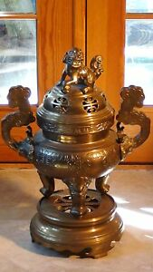 Antique 19c Chinese Large Brass Bronze Incense Burner On Stand Foo Dog On A Lid