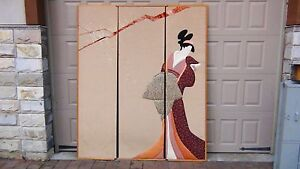 Japanese 3 Panels Floor Screen Silk Velvet Fabric Aplique Of Geisha Woman