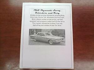 1962 Plymouth Big Car Cost Dealer Sticker Pricing For Car Options 62