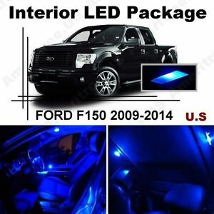 Blue Led Lights Interior Package Kit For Ford F150 2009 2014 9 Pieces