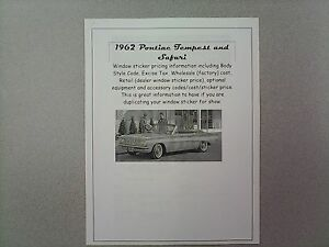 1962 Pontiac Tempest Cost Dealer Retail Window Sticker Pricing Car Options 62