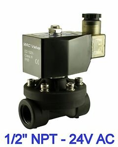 Plastic Electric Air Water Zero Differential Solenoid Valve 24v Ac 1 2 Inch
