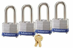 Master Lock Padlock Laminated Steel 1 9 16 In Wide 3qlf Pack Of 4 Keyed Alike