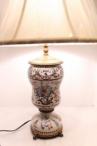 Vintage French Chinoiserie Crackled Porcelain Lamp With Brass Ormolu 28