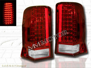 02 06 Cadillac Escalade Red Led Tail Lights 4 Doors Lamps 2003 2005