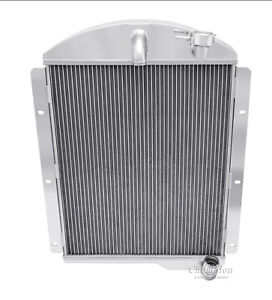 1941 1946 Chevy Pickup Truck Radiator Polished Aluminum 3 Row Champion Radiator