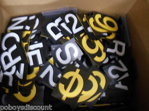 White Yellow Black Price Retail Menu Display Letters Numbers Symbols