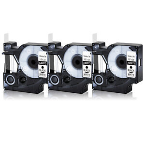 3pk Black On White Label Tape For Dymo D1 45013 1 2 X 23 S0720530 Labelmanager