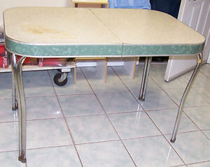Vintage Formica Chrome Table 1952 Cracked Ice W Staining