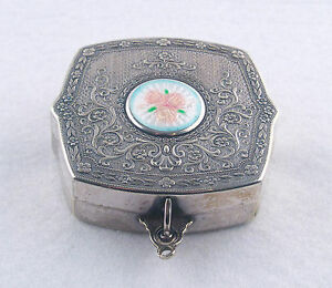 Antique Silver Guilloche Rose Enamel Compact With Mirror
