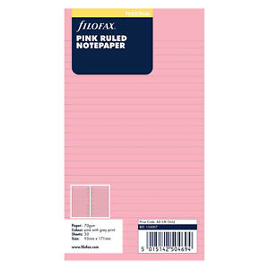 Filofax Personal Pink Ruled Notepaper 133007 Paper Refill Insert