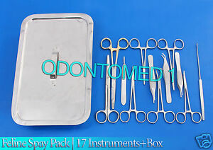 Feline Spay Pack 17 Instruments box Stainless Steel Veterinary Ds 1080
