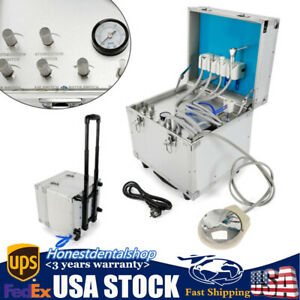 Dental Portable Delivery Unit Rolling Case Powerful Built inoilless Compressor