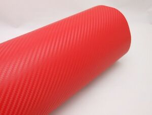 3d Red Carbon Fiber Vinyl Vehicle Wrapping Sticker Sheet Air Free