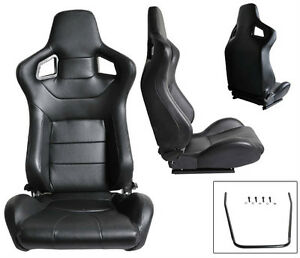 New 1 Pair Black Pvc Leather Reclinable Racing Seats For All Ford