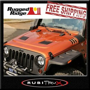 Rugged Ridge 17759 01 Black Performance Vented Hood Fits 07 17 Jeep Wrangler Jk