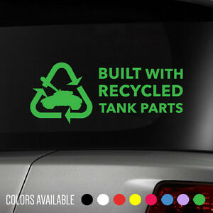 Built With Recycled Tank Parts Drift Euro Jdm Racing Vinyl Decal Sticker